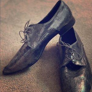 Miu Miu Oxford Shoes Pewer Suede Unique 38,5 8 US